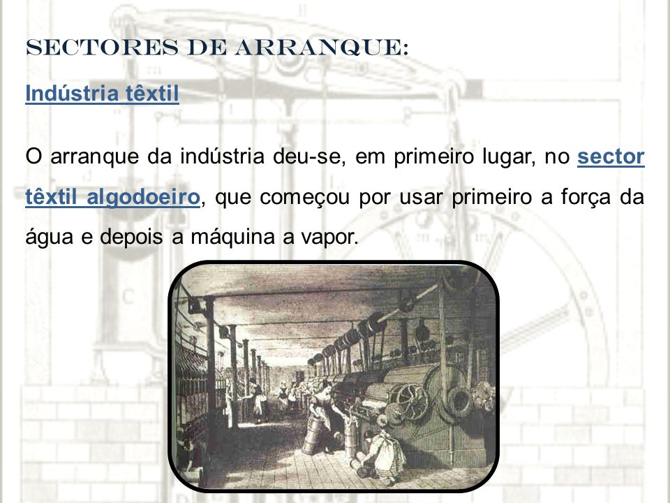 SECTORES DE ARRANQUE: Indústria têxtil.