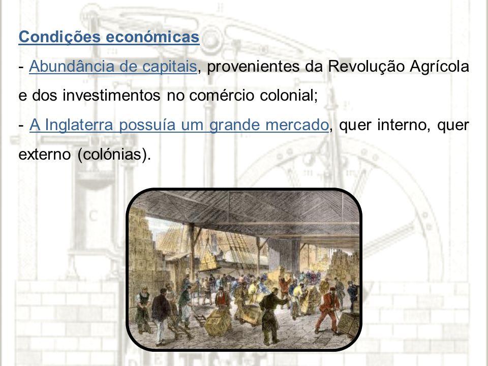 Condições económicas - Abundância de capitais, provenientes da Revolução Agrícola e dos investimentos no comércio colonial;