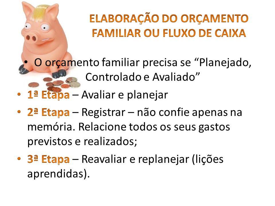 ELABORAÇÃO DO ORÇAMENTO FAMILIAR OU FLUXO DE CAIXA