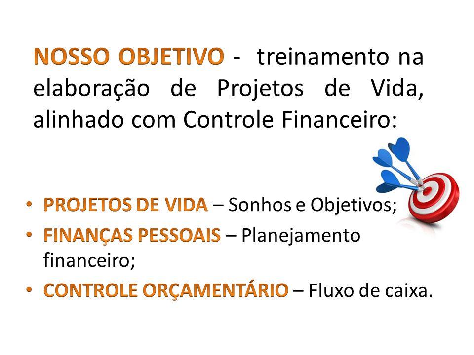 NOSSO OBJETIVO - treinamento na elaboração de Projetos de Vida, alinhado com Controle Financeiro: