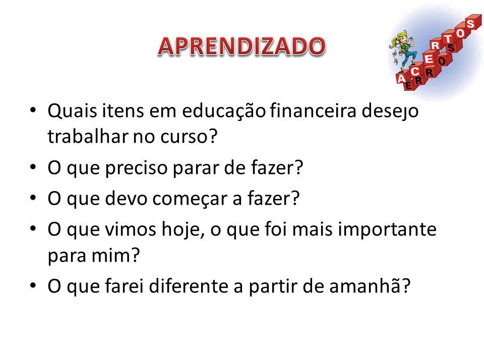 APRENDIZADO Quais itens em educação financeira desejo trabalhar no curso O que preciso parar de fazer