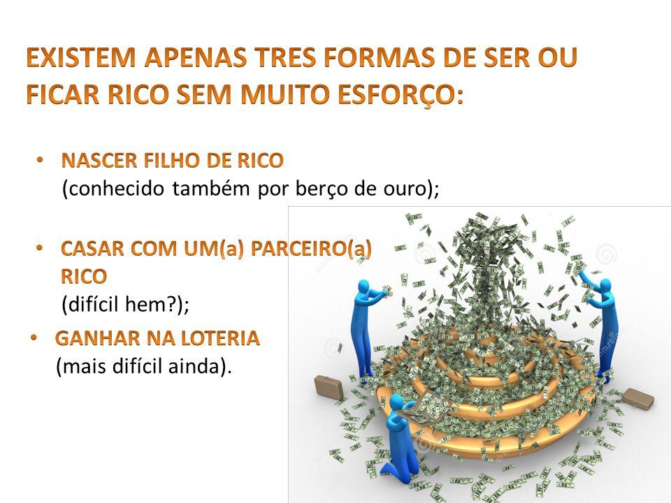 EXISTEM APENAS TRES FORMAS DE SER OU FICAR RICO SEM MUITO ESFORÇO: