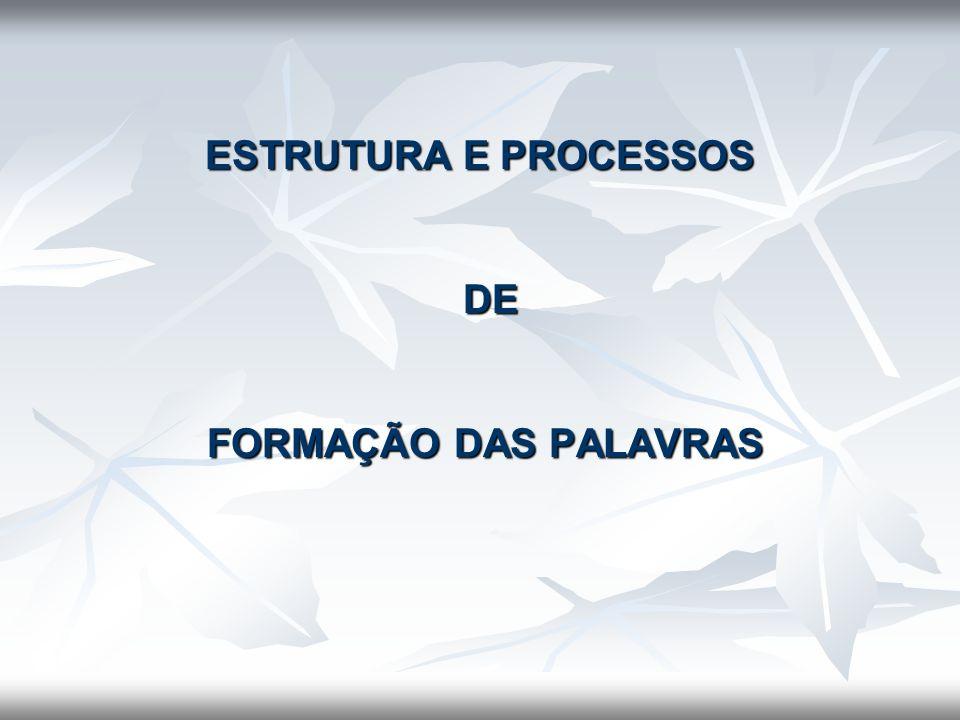 ESTRUTURA E PROCESSOS DE FORMAÇÃO DAS PALAVRAS