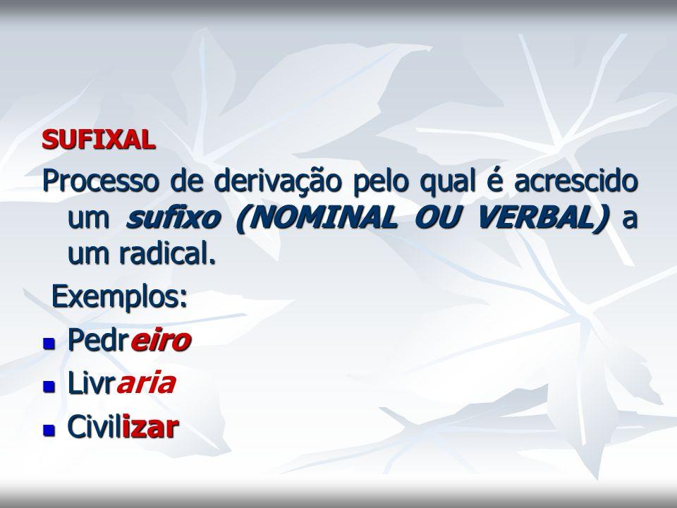 SUFIXAL Processo de derivação pelo qual é acrescido um sufixo (NOMINAL OU VERBAL) a um radical. Exemplos: