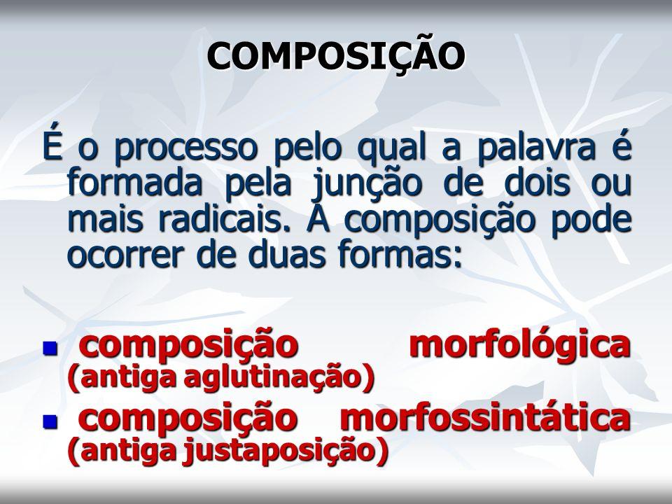 COMPOSIÇÃO É o processo pelo qual a palavra é formada pela junção de dois ou mais radicais. A composição pode ocorrer de duas formas: