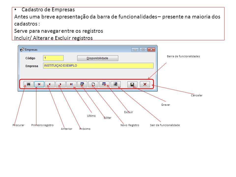 Cadastro de Empresas Antes uma breve apresentação da barra de funcionalidades – presente na maioria dos cadastros : Serve para navegar entre os registros Incluir/ Alterar e Excluir registros