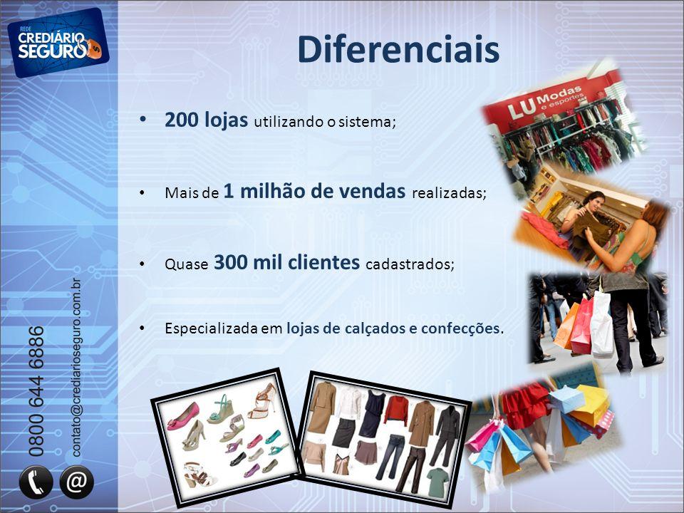 Diferenciais 200 lojas utilizando o sistema;