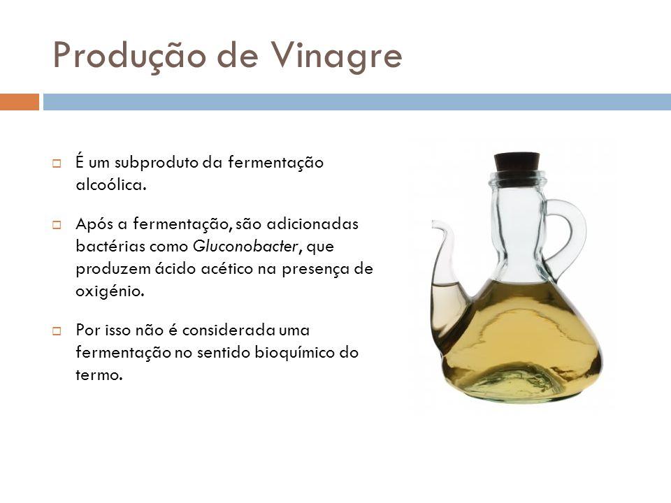 Produção de Vinagre É um subproduto da fermentação alcoólica.