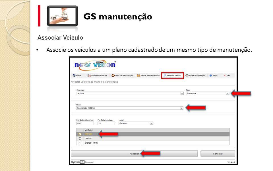 GS manutenção Associar Veículo.