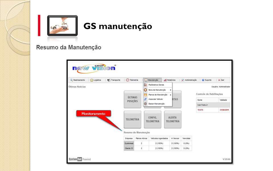 GS manutenção Resumo da Manutenção Monitoramento