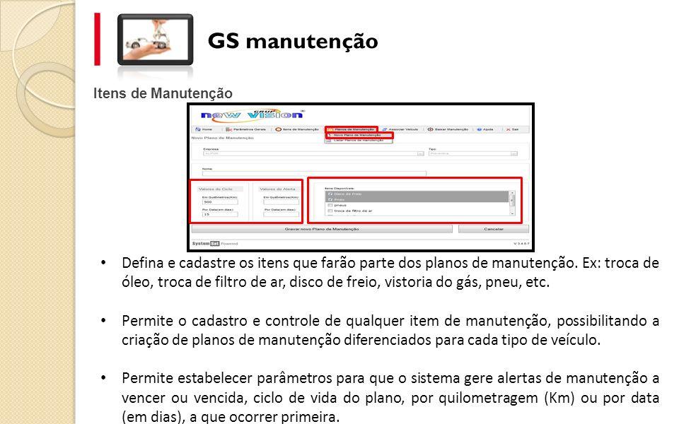 GS manutenção Itens de Manutenção.