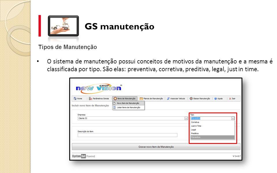 GS manutenção Tipos de Manutenção.