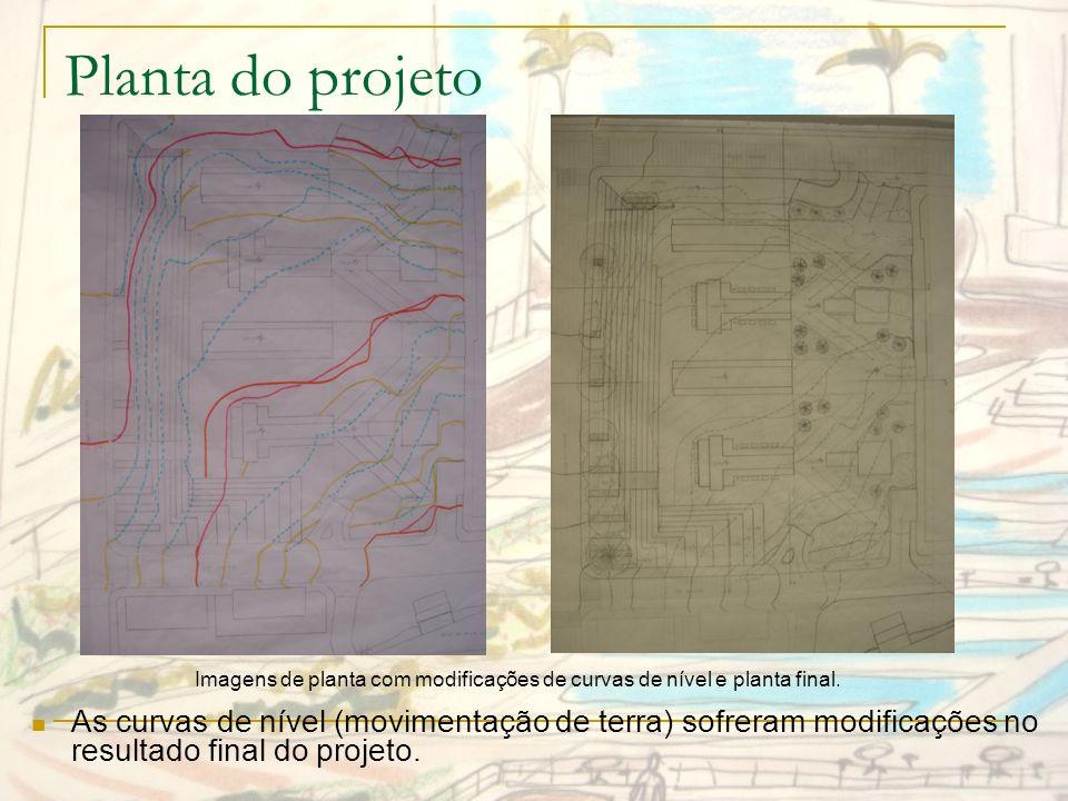 Imagens de planta com modificações de curvas de nível e planta final.