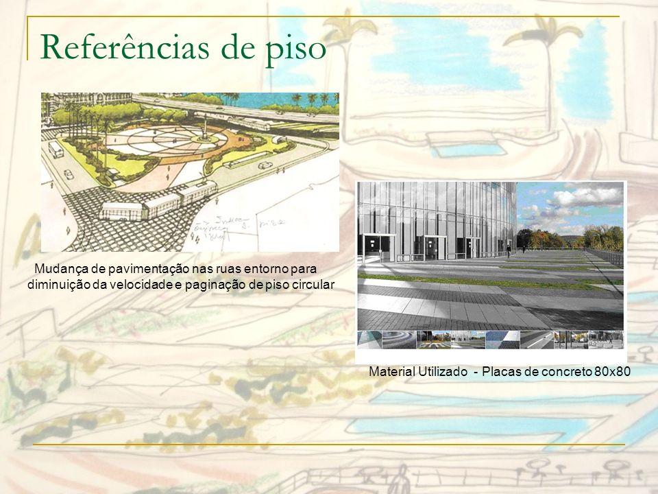 Referências de pisoMudança de pavimentação nas ruas entorno para diminuição da velocidade e paginação de piso circular.