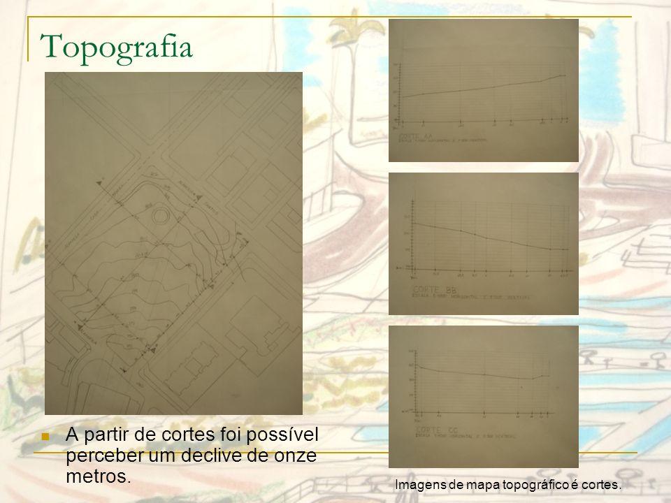 TopografiaA partir de cortes foi possível perceber um declive de onze metros.