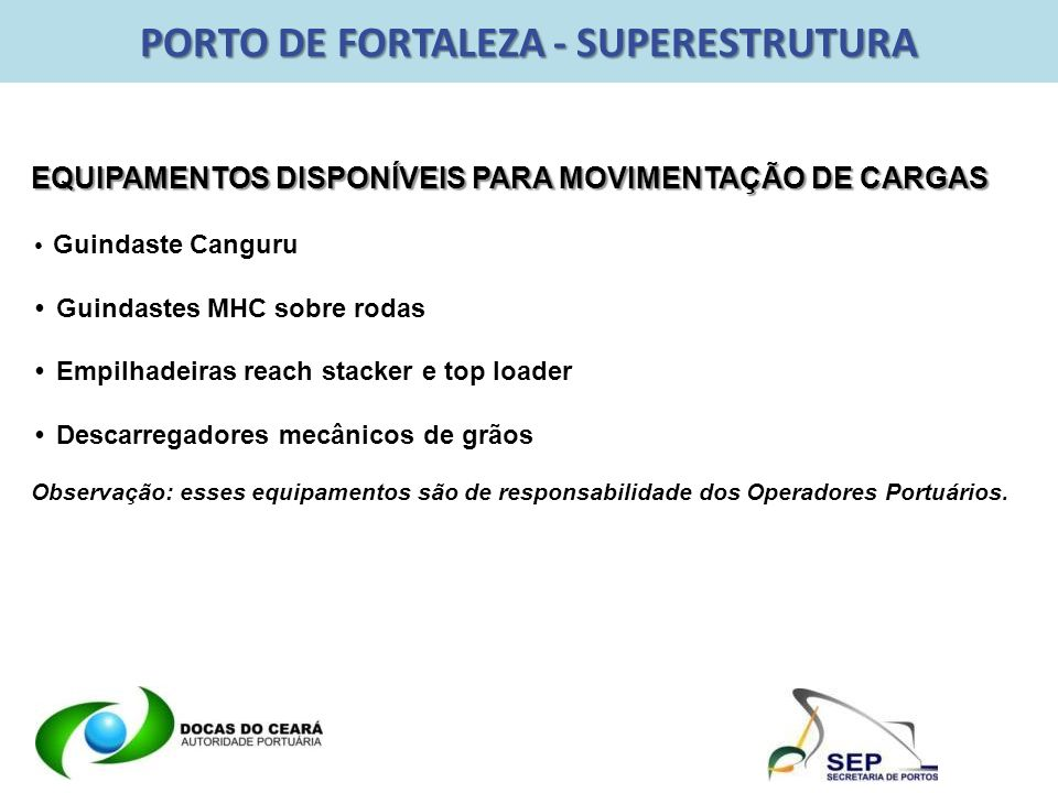 PORTO DE FORTALEZA - SUPERESTRUTURA