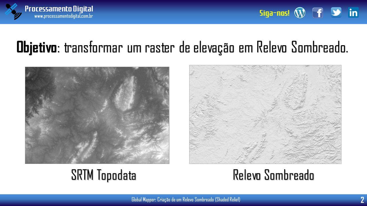 Objetivo: transformar um raster de elevação em Relevo Sombreado.