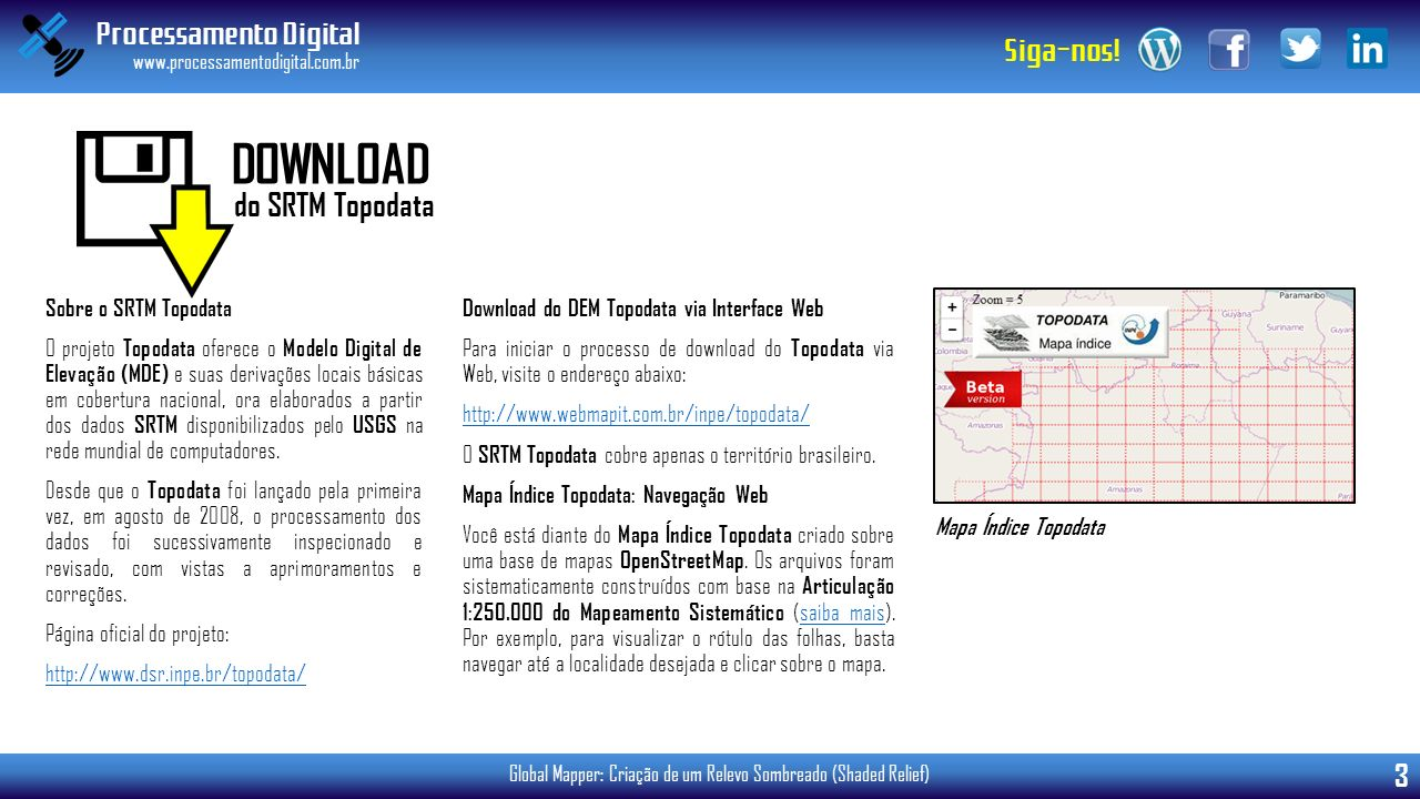 DOWNLOAD do SRTM Topodata Sobre o SRTM Topodata
