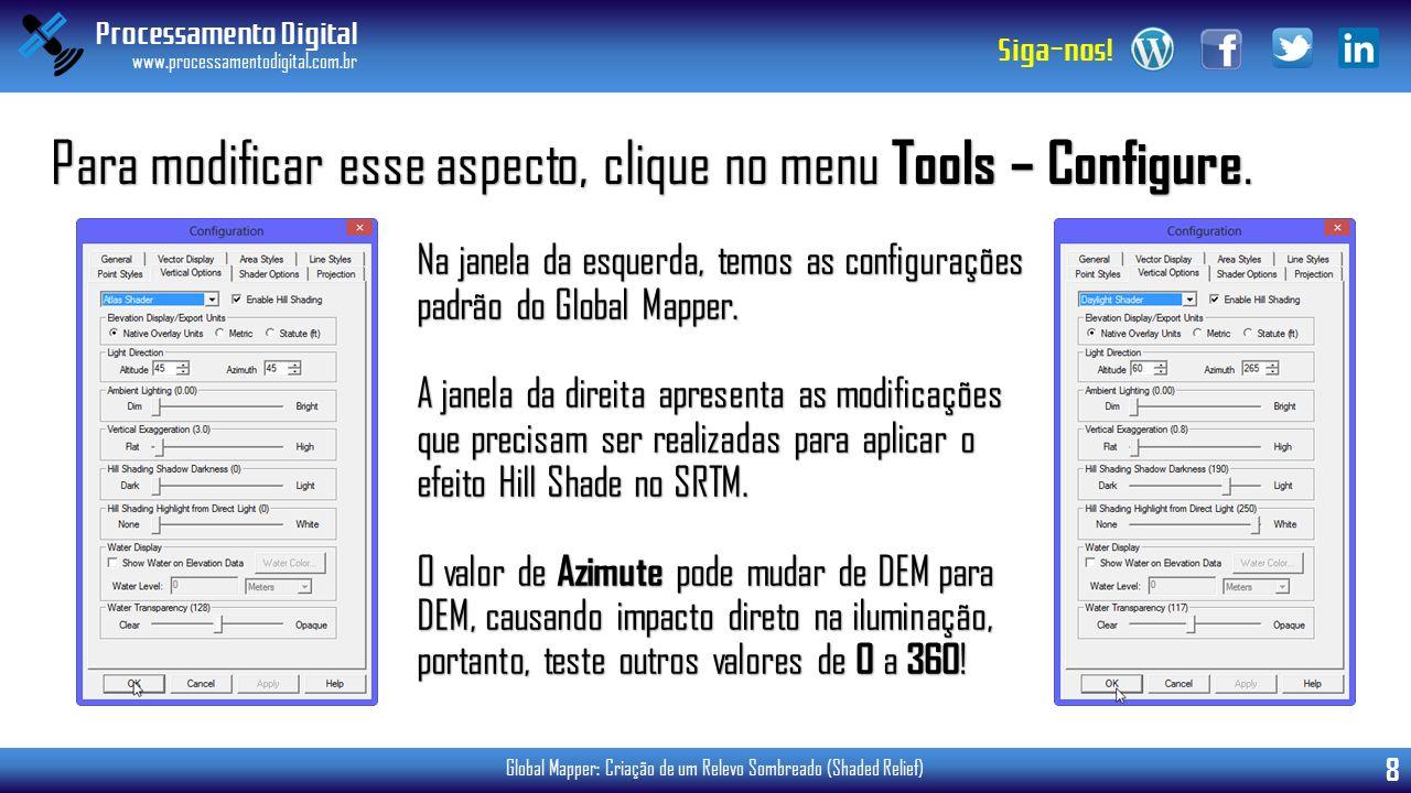 Para modificar esse aspecto, clique no menu Tools – Configure.