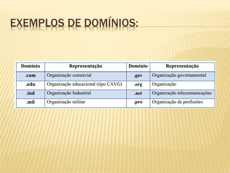 Exemplos de domínios: