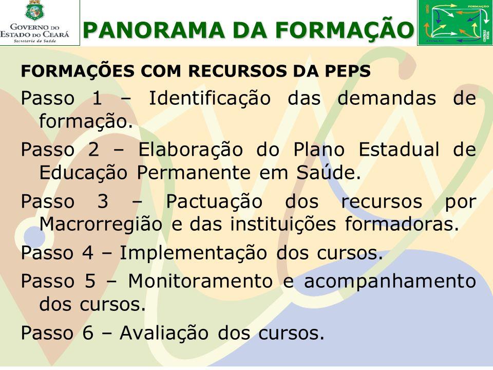 PANORAMA DA FORMAÇÃO Passo 1 – Identificação das demandas de formação.