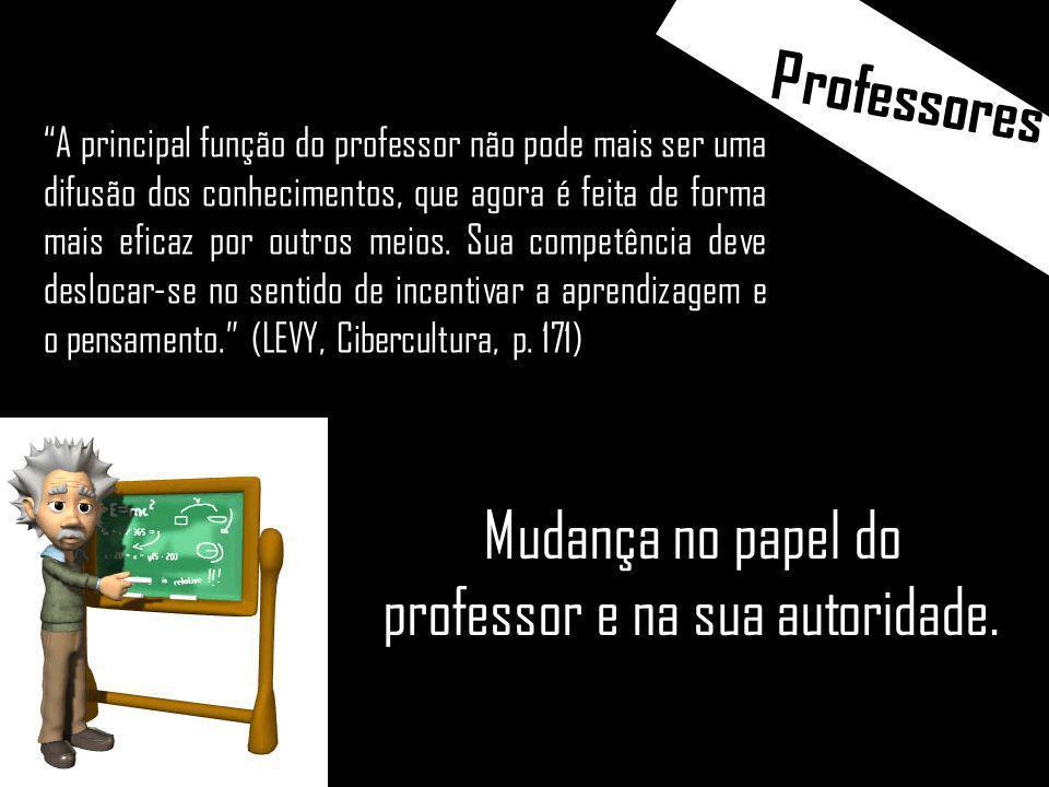 Mudança no papel do professor e na sua autoridade.