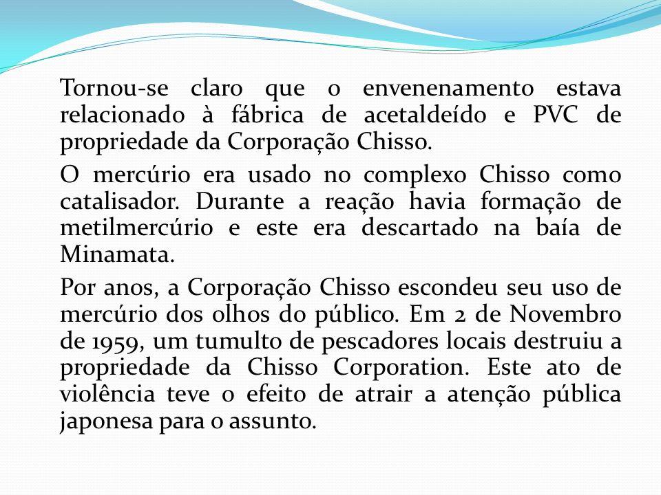 Tornou-se claro que o envenenamento estava relacionado à fábrica de acetaldeído e PVC de propriedade da Corporação Chisso.