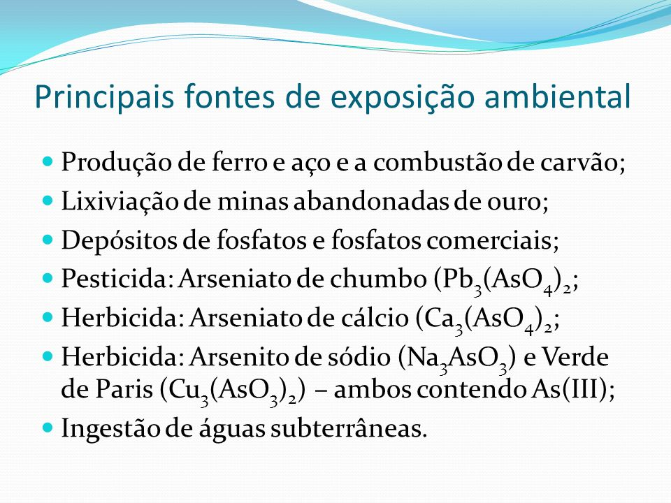 Principais fontes de exposição ambiental