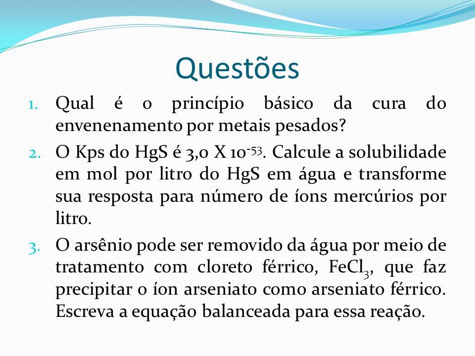 Questões Qual é o princípio básico da cura do envenenamento por metais pesados