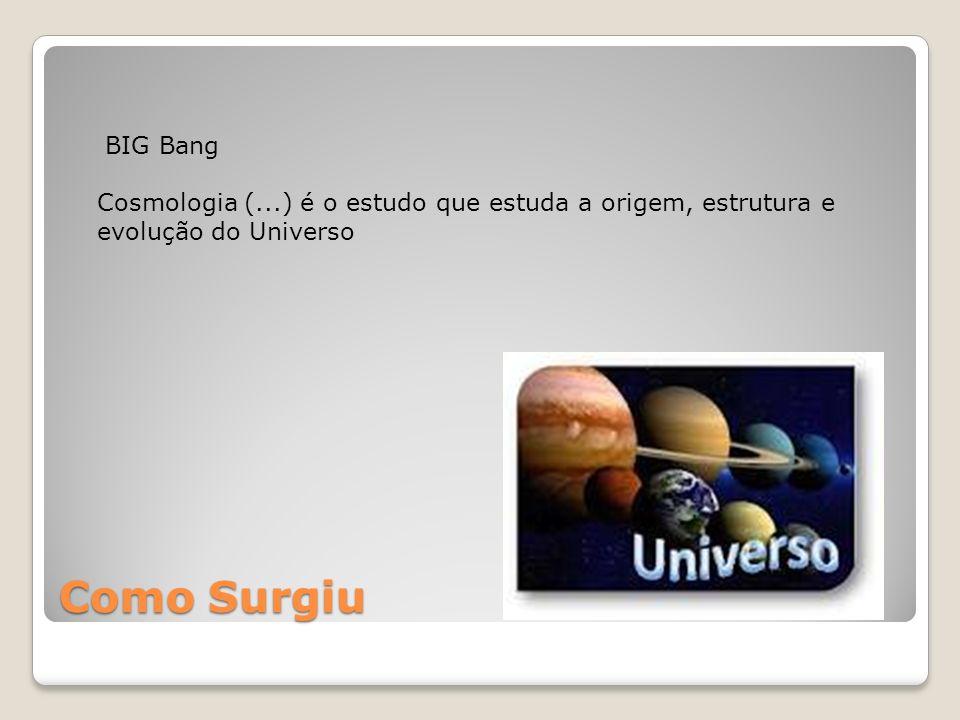 BIG Bang Cosmologia (...) é o estudo que estuda a origem, estrutura e evolução do Universo.