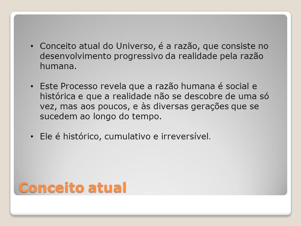 Conceito atual do Universo, é a razão, que consiste no desenvolvimento progressivo da realidade pela razão humana.