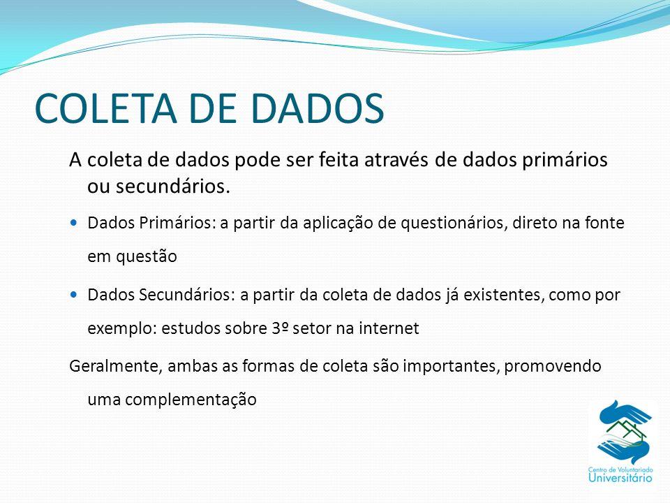 COLETA DE DADOS A coleta de dados pode ser feita através de dados primários ou secundários.