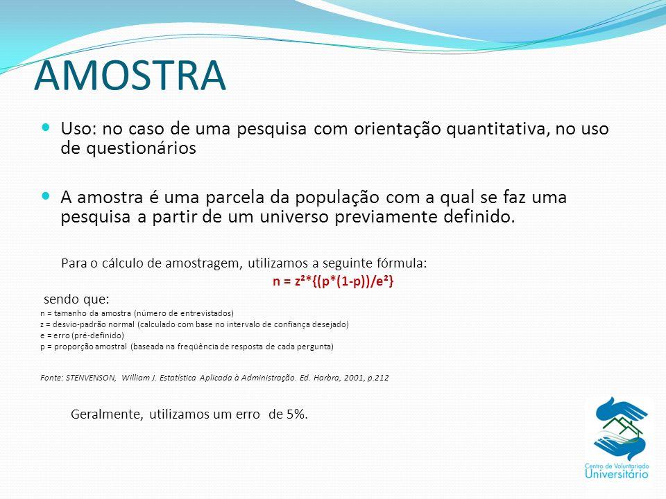 AMOSTRA Uso: no caso de uma pesquisa com orientação quantitativa, no uso de questionários.