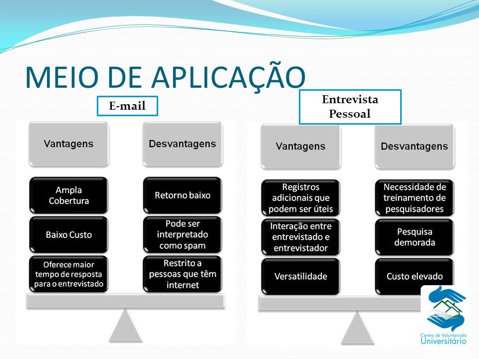 MEIO DE APLICAÇÃO Entrevista Pessoal E-mail