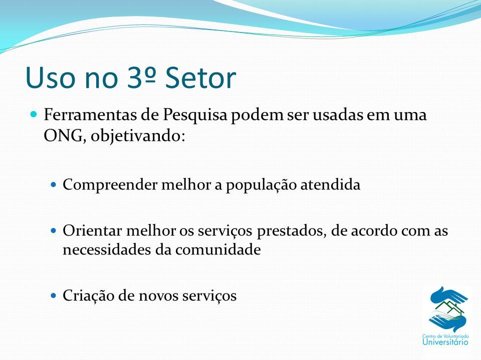 Uso no 3º Setor Ferramentas de Pesquisa podem ser usadas em uma ONG, objetivando: Compreender melhor a população atendida.