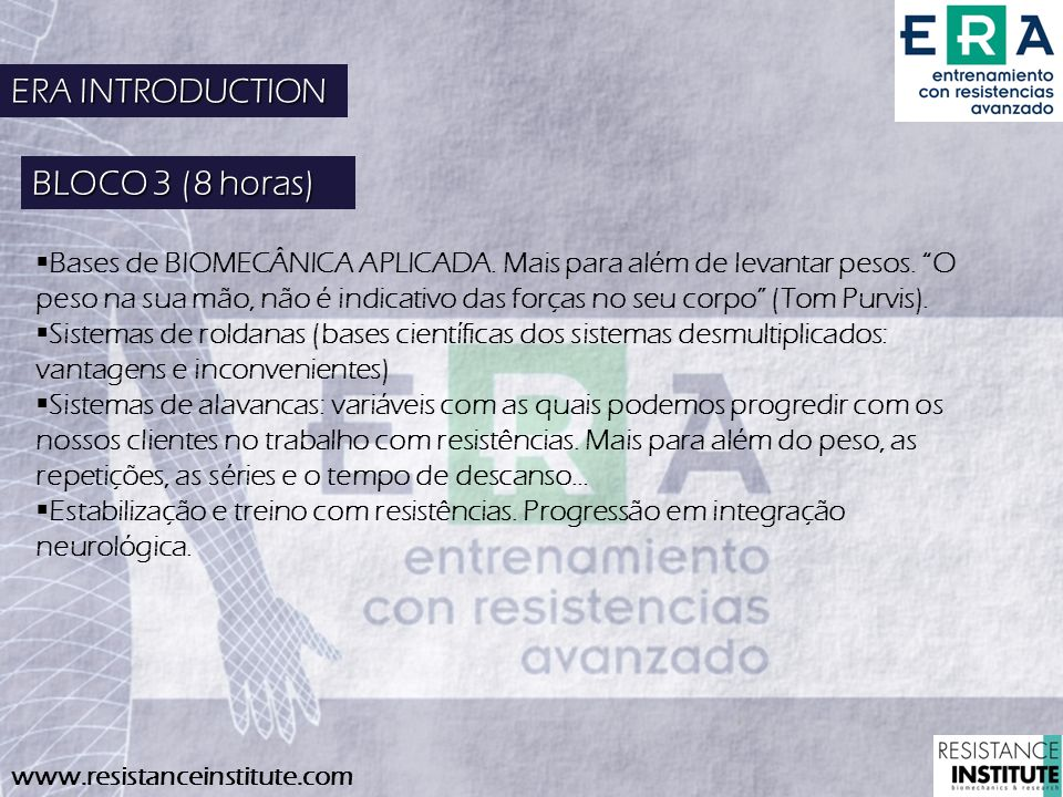 ERA INTRODUCTION BLOCO 3 (8 horas)