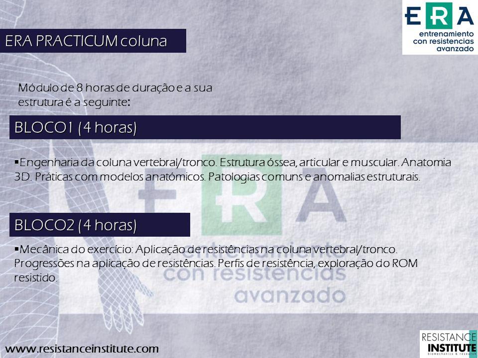 ERA PRACTICUM coluna BLOCO1 (4 horas) BLOCO2 (4 horas)