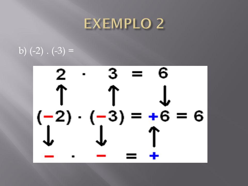 EXEMPLO 2 b) (-2) . (-3) =