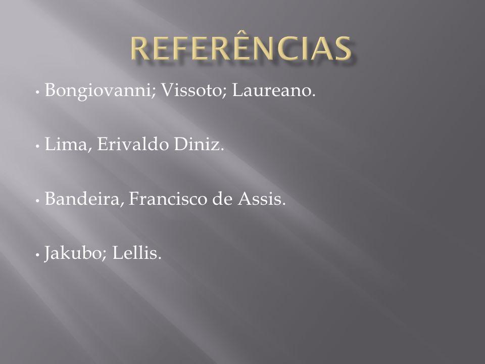 REFERÊNCIAS Bongiovanni; Vissoto; Laureano. Lima, Erivaldo Diniz.