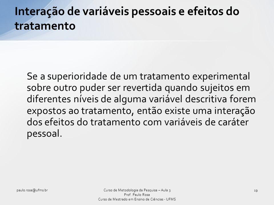 Interação de variáveis pessoais e efeitos do tratamento