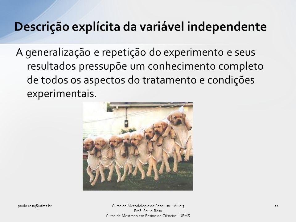 Descrição explícita da variável independente