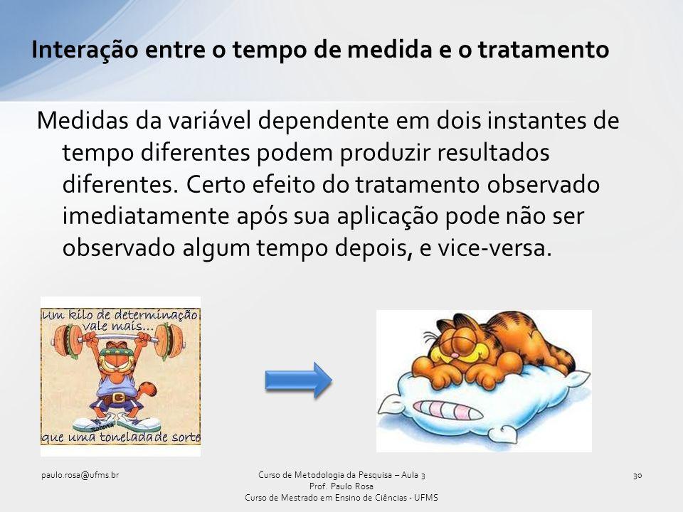 Interação entre o tempo de medida e o tratamento