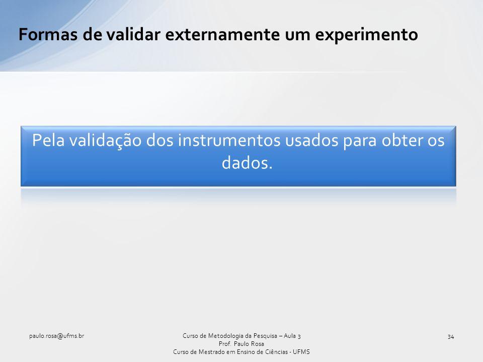 Formas de validar externamente um experimento