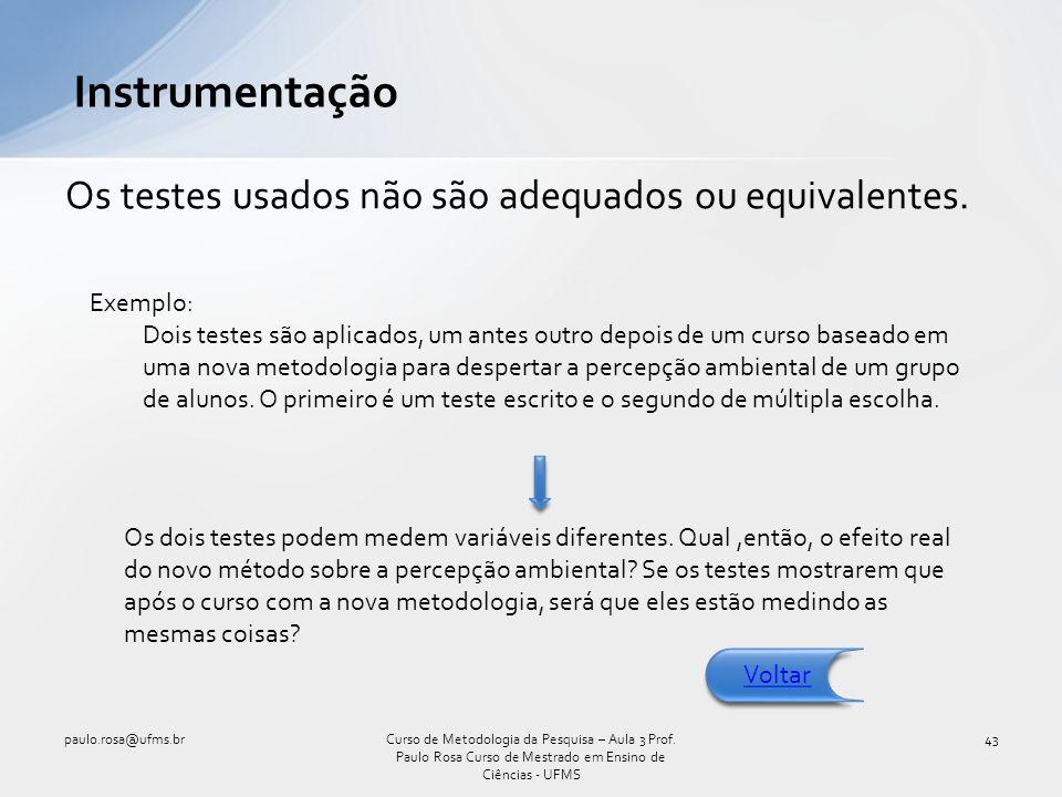Instrumentação Os testes usados não são adequados ou equivalentes.