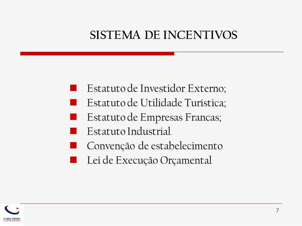 SISTEMA DE INCENTIVOS Estatuto de Investidor Externo;