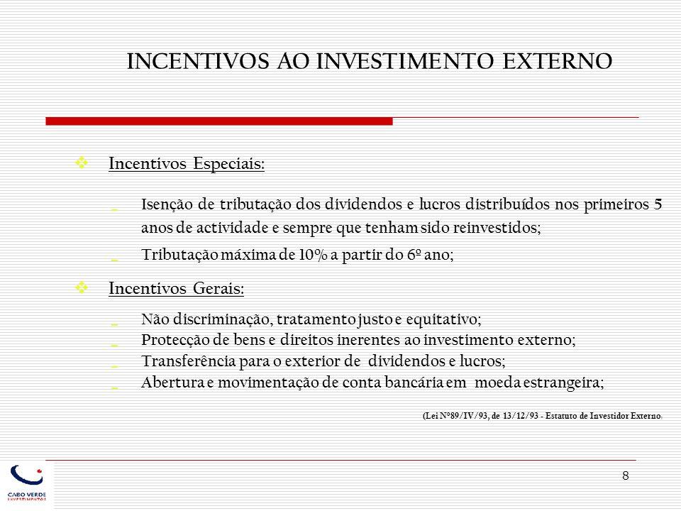 INCENTIVOS AO INVESTIMENTO EXTERNO