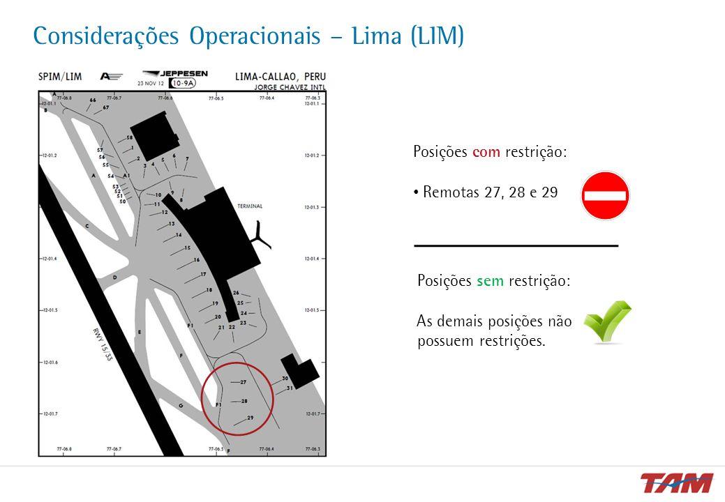 Considerações Operacionais – Lima (LIM)