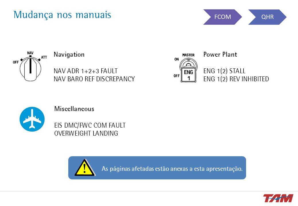 Mudança nos manuais Navigation NAV ADR 1+2+3 FAULT