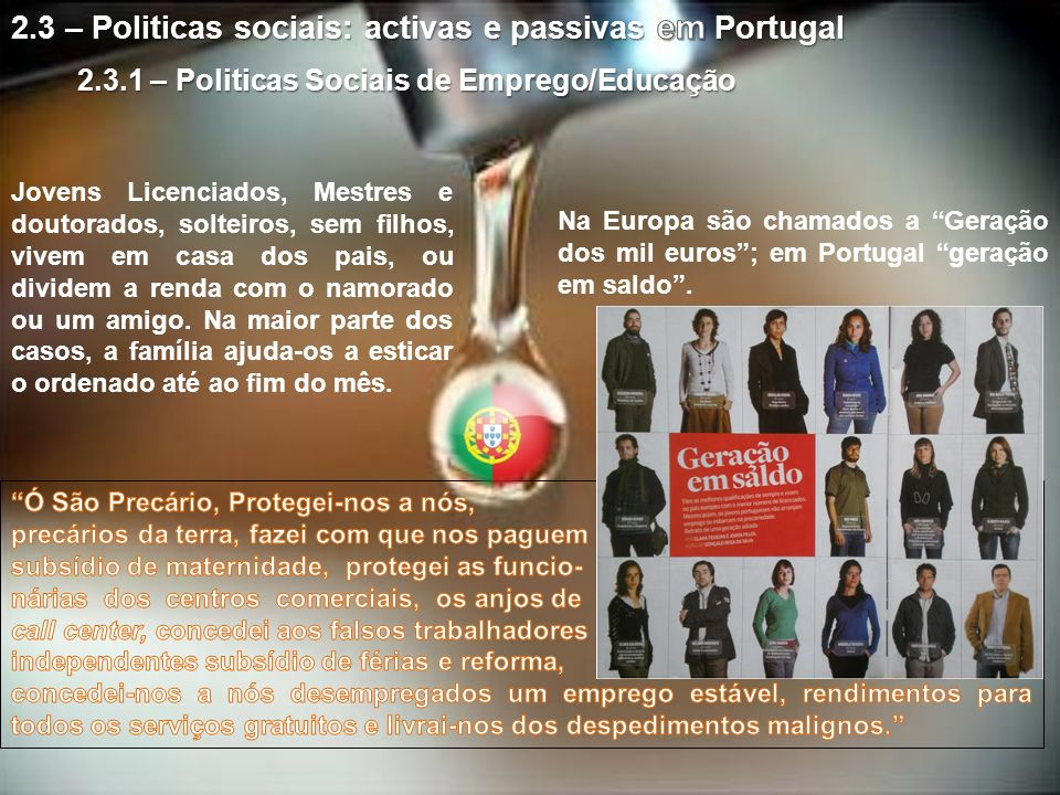 2.3 – Politicas sociais: activas e passivas em Portugal