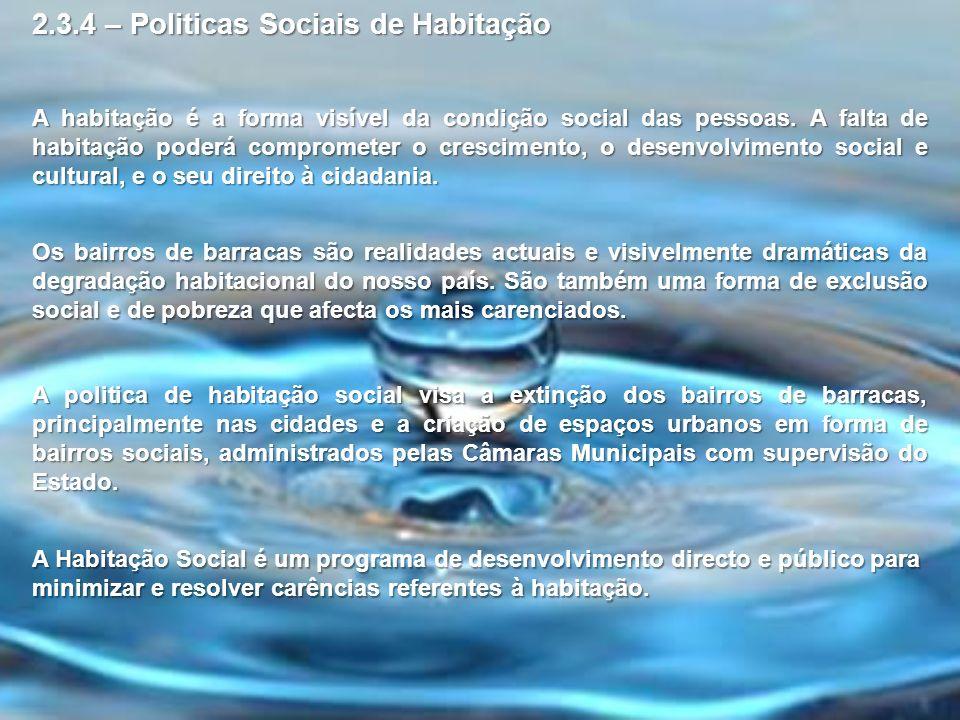 2.3.4 – Politicas Sociais de Habitação